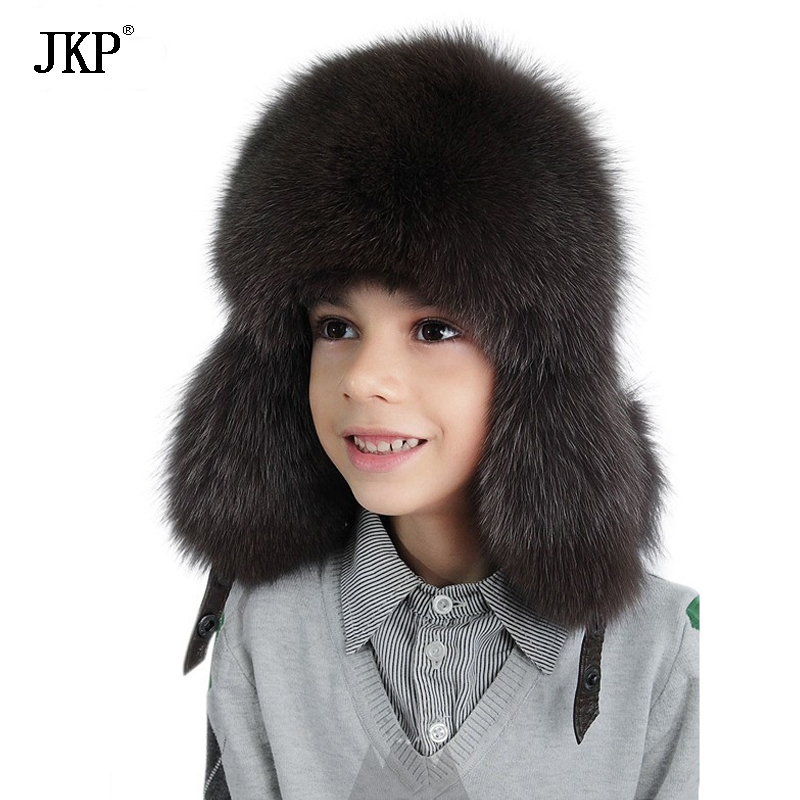 Enfants enfants chapeaux réel fourrure de renard chapeau avec hiver enfant bomber chapeaux pour garçons russe fourrure casquettes