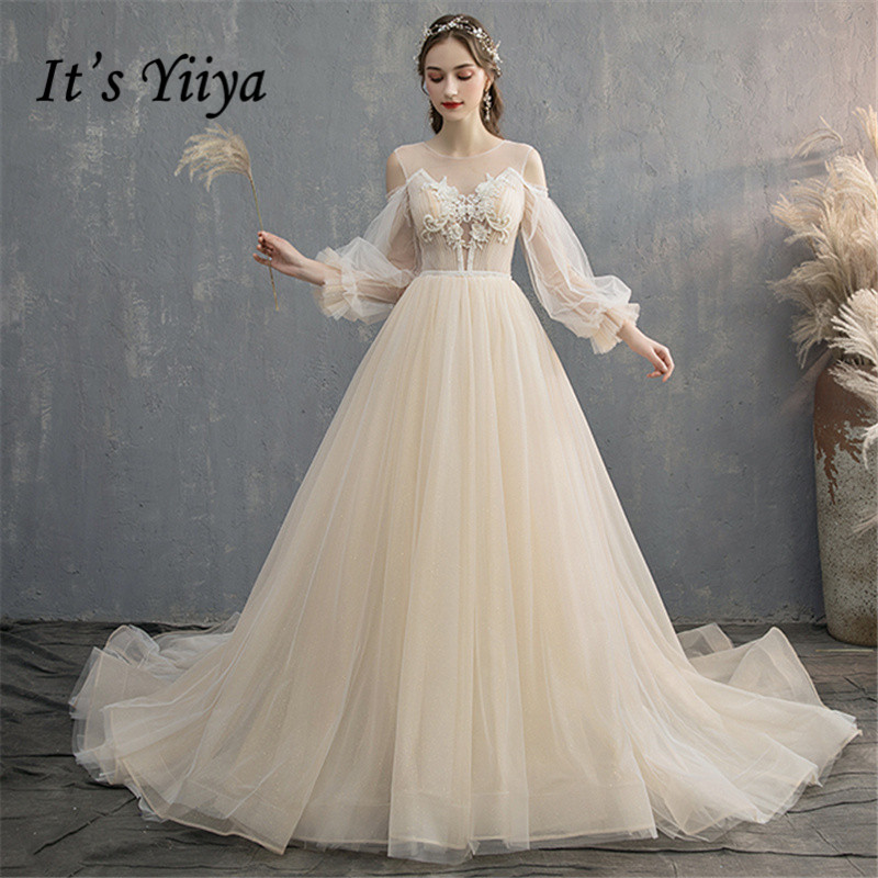 Its YiiYa Wedding Dress O-neck Lantern Sleeve Train wedding gowns Appliques Lace Beading Backless Chic Bridal Dresses G027