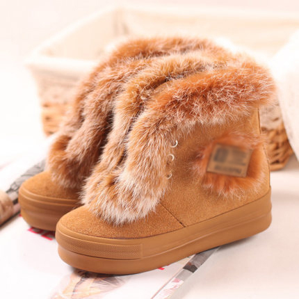 Christmas Warm Leather Fur Winter Boots Women Platform Shoes Brown Size38,39