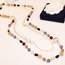 Suéter CC perlas de múltiples capas de perlas de cristal collar de accesorios de las mujeres 2016 nueva joyería de moda de corea sautoir collier femme larga