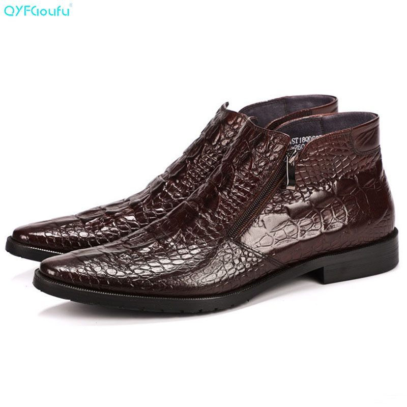 QYFCIOUFU Luxury Designer Mens Leather Boots Shoe Genuine Leather High Quality Cow Leather Pointy Crocodile Pattern Ankle BootsQYFCIOUFU Luxury Designer Mens Leather Boots Shoe Genuine Leather High Quality Cow Leather Pointy Crocodile Pattern Ankle Boots