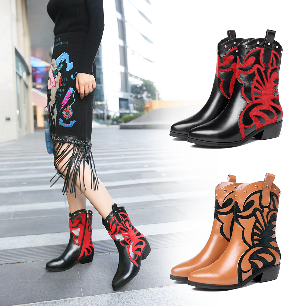 Fashion Own Brand Design Retro Vintage mid calf Boots Ladies Genuine Cow Leather Shoes Boots Women Shoes Woman Large Size 33 43