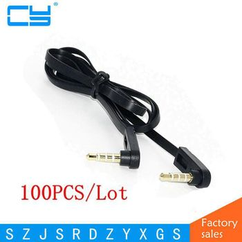 "100PCS/Lot 100cm 1/8"" 3.5mm 90 Degree right angled mini plug stereo audio Headphone Extension cable"