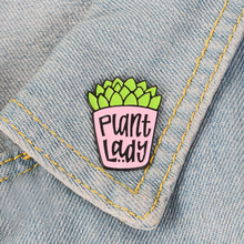 цена на Potted Plant Brooch Cartoon Cactus Green Plant Fleshy PLANT LADY Enamel Pin Coat Cap Badge Kids and Friends Gardener Worker Gift