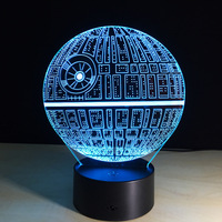 Star Wars Death Star 3D Illusion Night Light Colorful Changing USB Table Lamp Touch Remote Decor