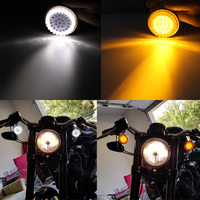 FADUIES Motorcycle 2 Bullet Style 1157 Turn Signal LED Inserts For Harley Softail 2011 2017 Dyna 2012 2017 Yellow+White Light