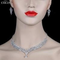 CHRAN Lovely Heart Design Silver Plated Rhinestone Women Wedding Jewelry Set Fashion Crystal Necklace Tassel Earrings Set