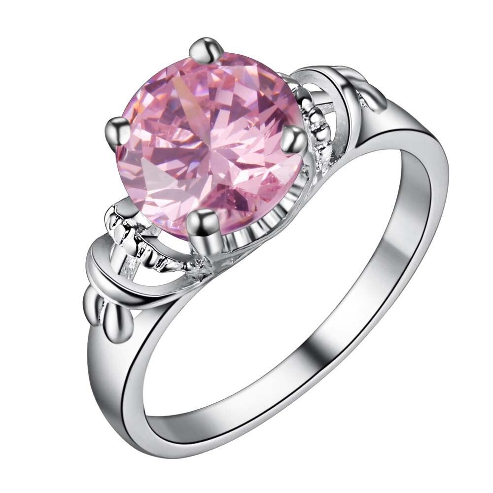 pink zircon bling Silver plated Ring Fashion Jewerly Ring Women&Men , /FEBXPHQY VQRWLZFF
