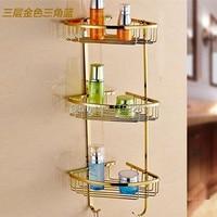 Полки для ванной комнаты  3-уровневая металлическая Золотая настенная полка для душа  угловая корзина для хранения шампуня  аксессуары для в...