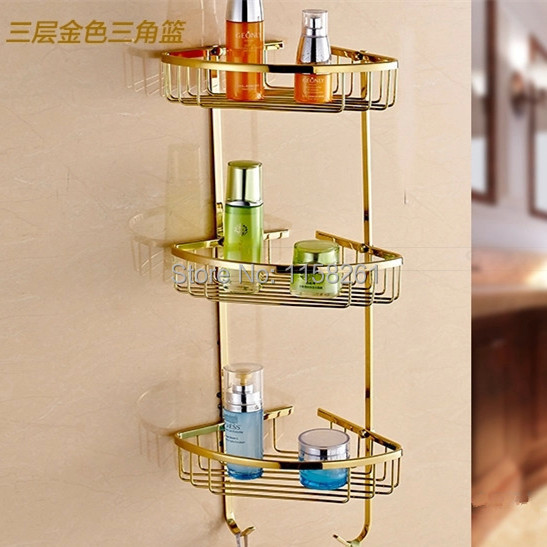 Bathroom Shelves 3 Tier Metal Gold Shower Wall Shelf Corner Basket Shampoo Storage Rack Bath Accessories Towel Hooks OG-8617 black bathroom shelves stainless steel 2 tier square shelf shower caddy storage shampoo basket kitchen corner shampoo holder