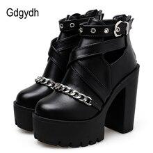 Gdgydh Drop חינם אופנה שרשרת נשים נעלי רוכסן כיכר גבוהה העקב קרסול מגפי נשים פאנק נעלי פלטפורמת אביב סתיו