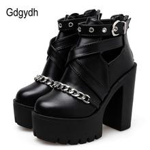 Gdgydh botas para mujer de tacón alto cuadrado con cremallera, zapatos con cadena, estilo Punk, plataforma, temporada primavera otoño