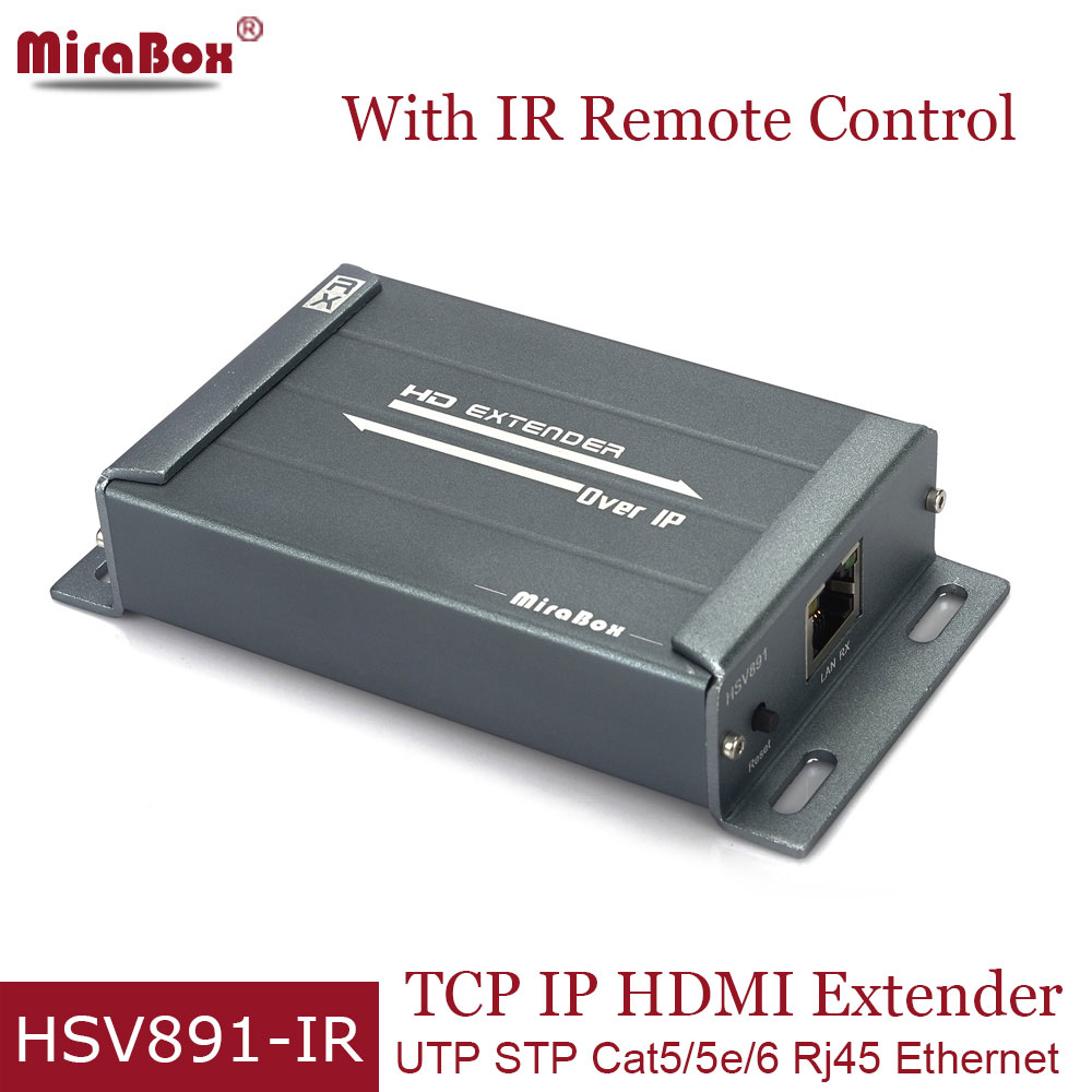 Mirabox 1080p HDMI IR Extender Over TCP/ IP Cat5/5e/6 Ethernet HDMI Casecade IR Control Via RJ45 Up to 120m With Audio Extractor 120m 150m 200m h 264 hdmi over tcp ip extender with 20 60 khz ir