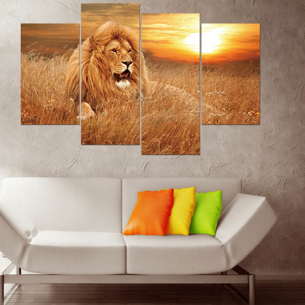 4Pcs/set Modular PVC Lion Painting HD Printed Animals Group Wallpaper Sticker Wall Pictures Living Room Pictures Home Decoracion