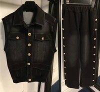 2016 женские костюмы, джинсовый Джек и джинсовый спортивный костюм для женщин, жилет джинсовая куртка Женский костюм из двух предметов, удиви
