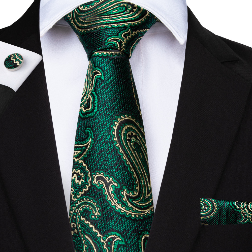 Men's Ties & Handkerchiefs Extra Long Size Paisley Floral Dark Green Black Mens Neckties Ties 100% Silk Matching Hanky Jacquard Woven Brand New Fashion Buy One Give One