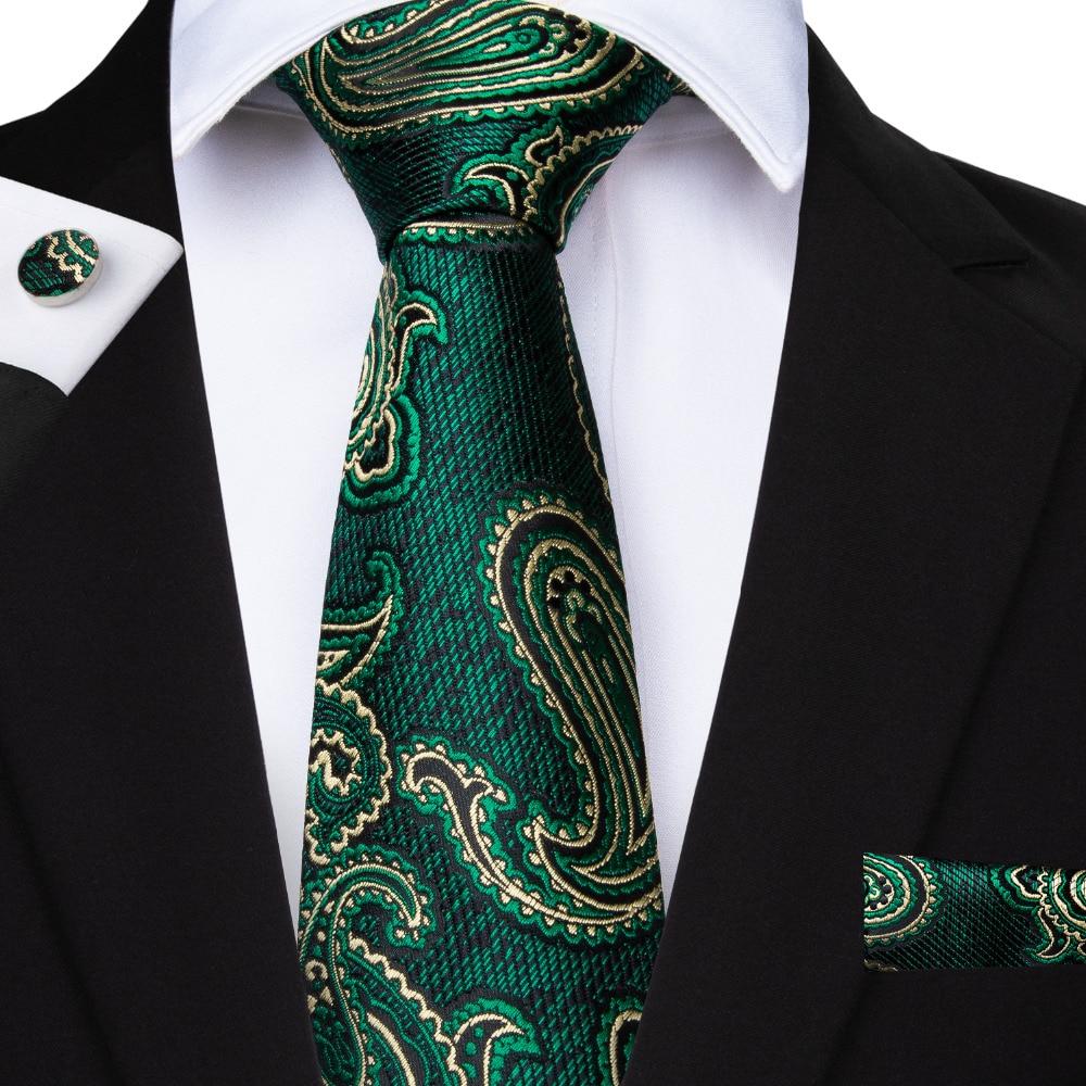Men/'s Silk Jacquard Woven Necktie Tie Black Silver Green Red Blue FREE HANKY