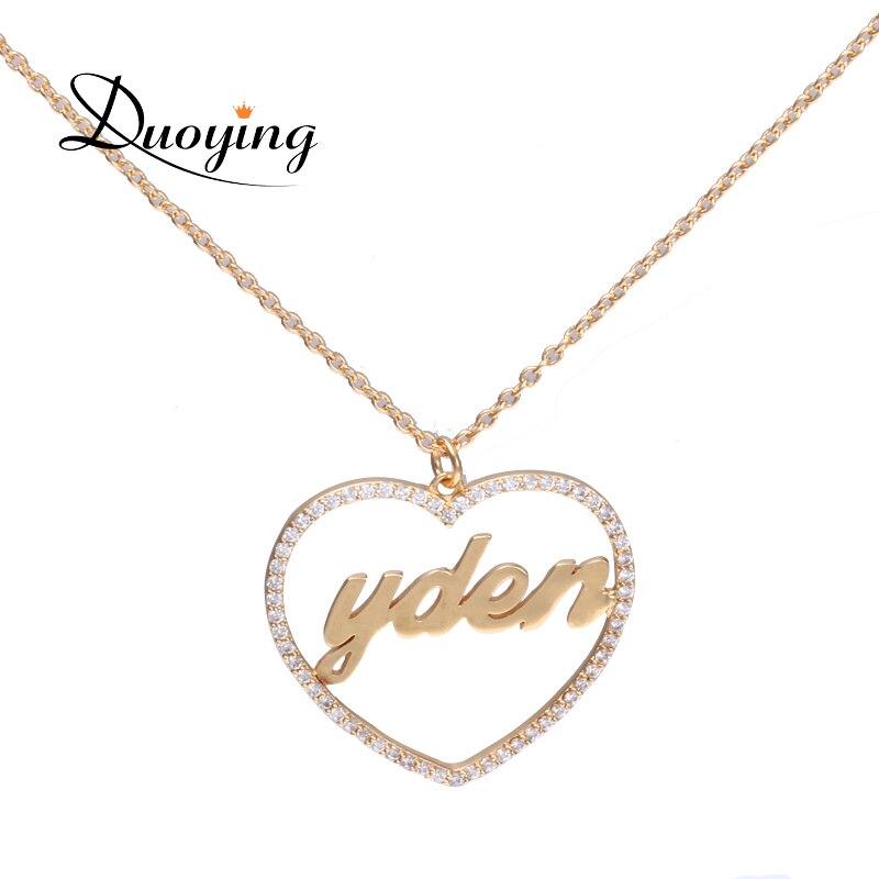 DUOYING 30mm Micro Pflastern Herz Halsketten Custom Name Herz Personalisierte Einzigartige Halsketten für Etsy Liebe Schmuck Geschenke für Sie