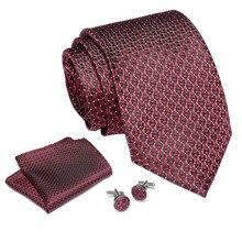 2019 Men`s Tie 100% Silk Jacquard Woven Necktie Hanky Cufflinks Sets For Formal Wedding Business Party neck tie suit 7.5cm width