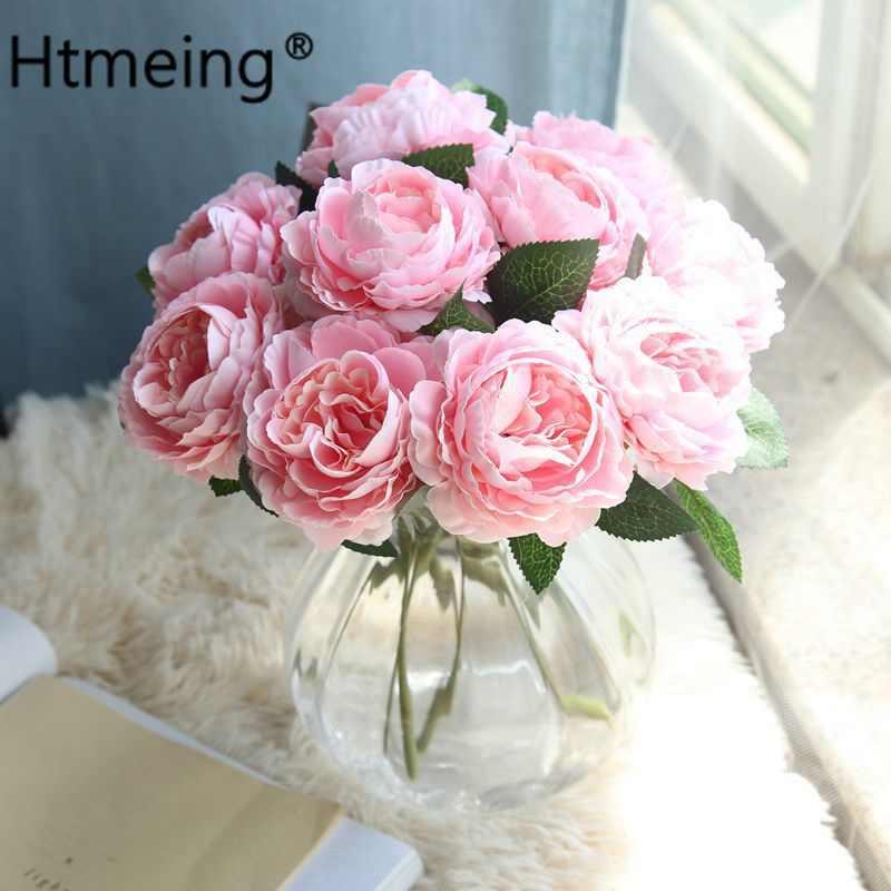 Flores Artificiales Plantas Seda Plástico Rosa Flores
