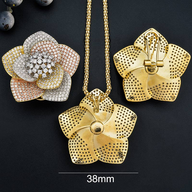 ModemAngel luksusowe kwiat AAA cyrkonia miedź zaręczyny Bridal naszyjnik kolczyki dubaj biżuteria zestaw dla kobiet w Zestawy biżuterii od Biżuteria i akcesoria na  Grupa 2