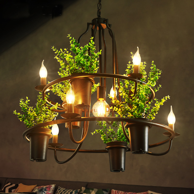 Modern Leaf Pendant Lamps American Country Lights Fixture Retro Home Indoor Lighting Restaurant Cafes