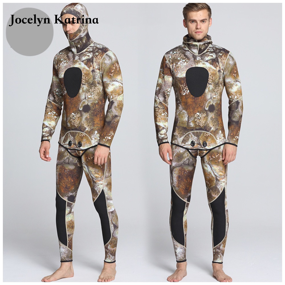 Jocelyn Katrina 5MM Warm 2-Piece Diagonal zipper Neoprene Scuba Diving Suits Thickening Jellyfish Hooded Wetsuits ...