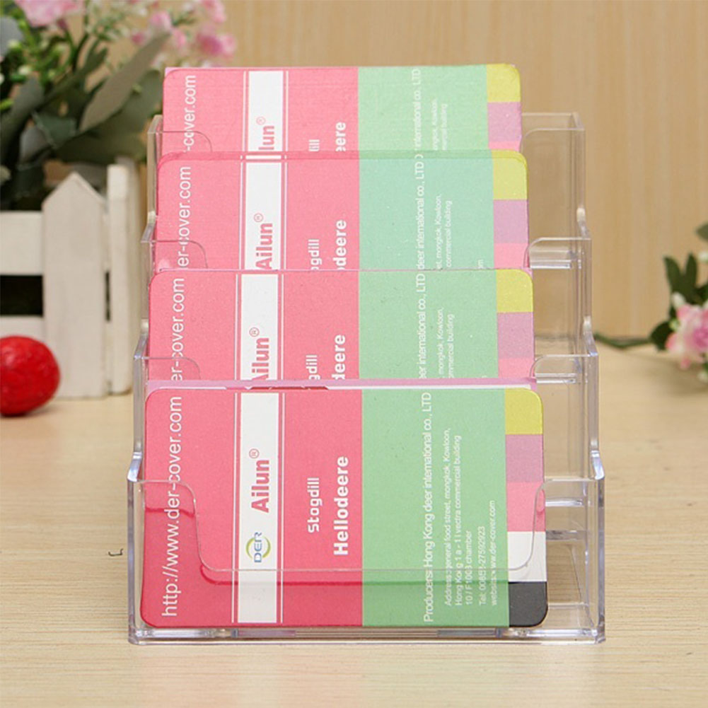 Office cards holding tool four pockets clear desktop office office cards holding tool four pockets clear desktop office counter acrylic business card holder stand display rack in card id holders from luggage bags magicingreecefo Images