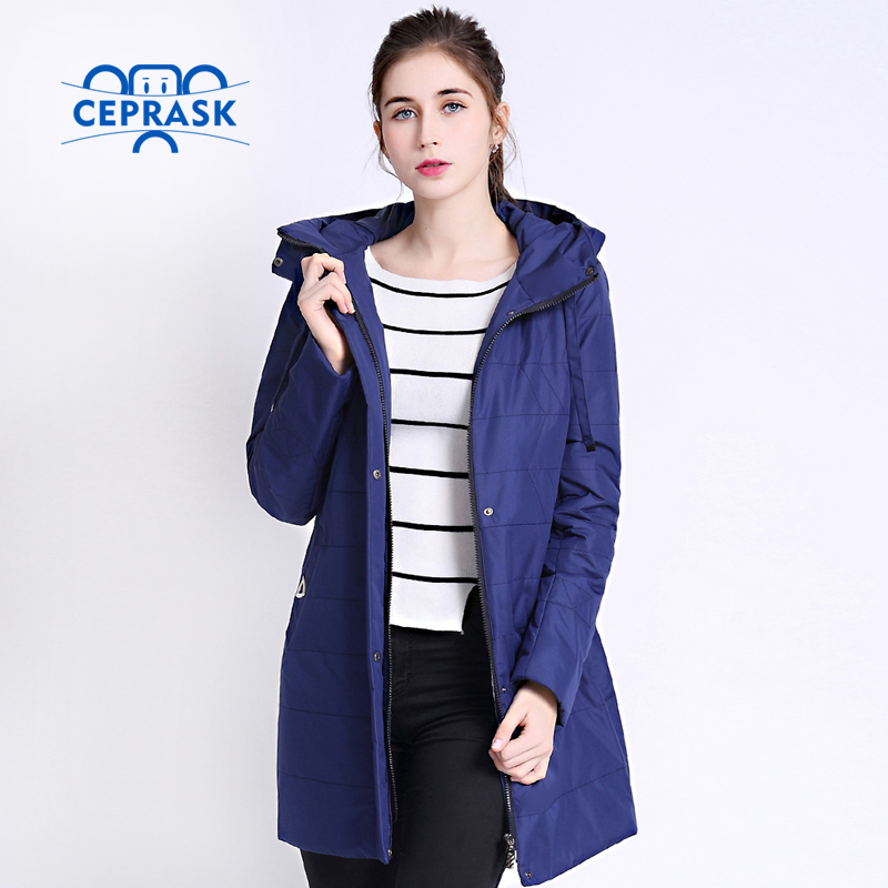 2017 New Spring Autumn Parka Women Thin Jackets Long Big Size Quilted Cotton Jacket Hooded High Quality Women's Coat CEPRASK