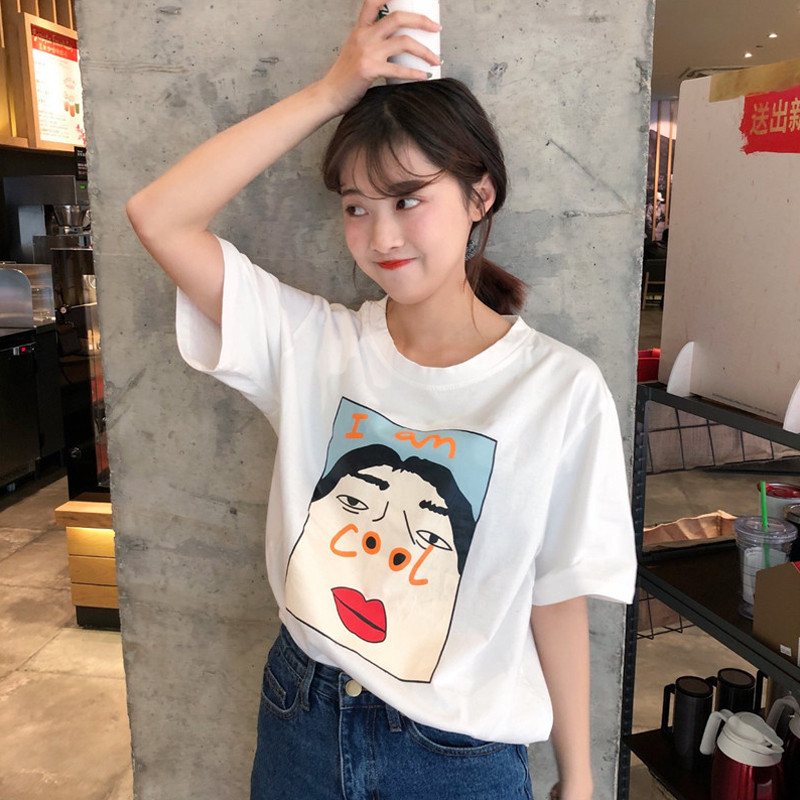 Women's Fashion   T     shirt   I am Cool Funny Letter Print Summer Harajuku   T  -  shirt   Korean Creative Female Plus Size Tops Tee