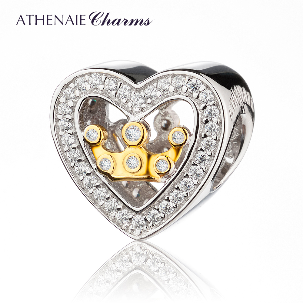 ATHENAIE 925 Silver with Pave Clear CZ Heart Shaped Love Crown in Heart Charm Beads Fit All European Bracelets For Women JewelryATHENAIE 925 Silver with Pave Clear CZ Heart Shaped Love Crown in Heart Charm Beads Fit All European Bracelets For Women Jewelry