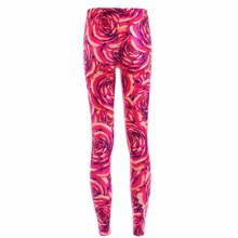New Arrival 3873 Sexy Girl Festive Red Rose peony Flower Printed Elastic Fitness Polyester Workout Women