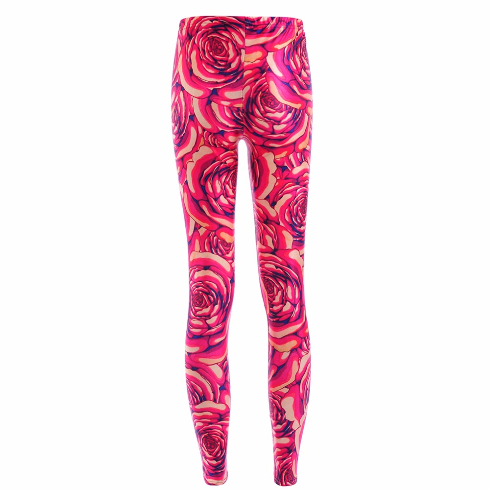 New Arrival 3873 Sexy Girl Festive Red Rose peony Flower Printed Elastic font b Fitness b