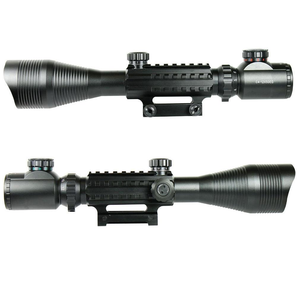 Здесь можно купить   C4-12X50 Tactical Optical Rifle Scope Red Green Dual illuminated Hunting Airsoft Riflescope w/ Side Rails & Mount  Спорт и развлечения
