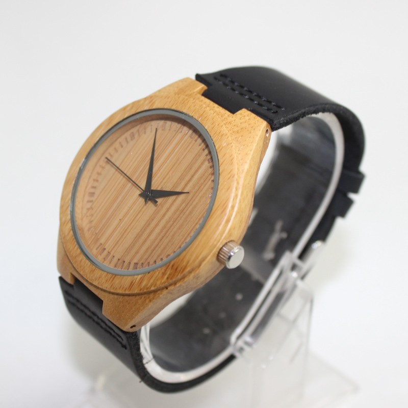 Hot Sell Bamboo Watch Fashion Wood Watch For Men With Genuine Leather Strap No Waterproof Round Quartz Men Watches in Quartz Watches from Watches