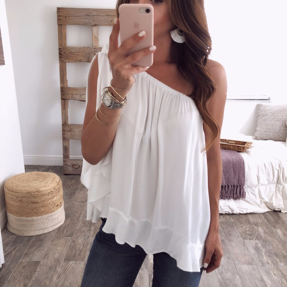2018 Summer New Women Chiffon   Blouses     Shirts   Sexy One Shoulder Sleeveless Solid Plus Size   Shirts     Blouse   Team Epic S- 3XL 4XL 5XL