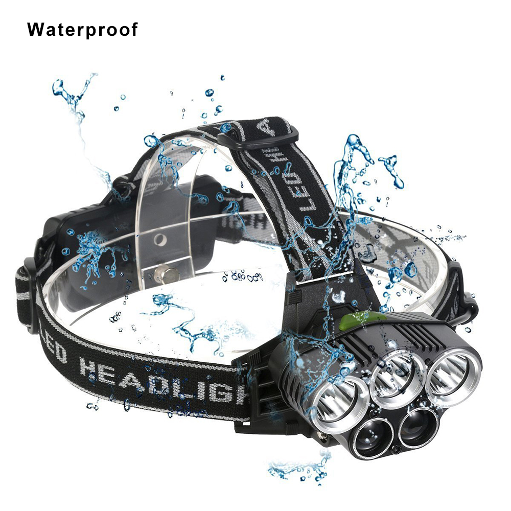 cheapest USB rechargeable LED Headlamp 5 white light or 3 white   2 bule light waterproof led headlight fishing lamp use 18650 battery