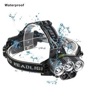 Image 3 - USB rechargeable LED Headlamp 5 white light or 3 white + 2 bule light waterproof led headlight fishing lamp use 18650 battery
