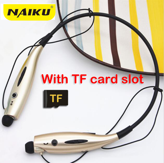 NAIKU Sport Bluetooth Earphone 730TF  FM SD Card Slot Auriculares Bluetooth Headphones Microphone For iphone Huawei XiaoMi Phone wireless bluetooth earphone headphones s9 sport earpiece headset with tf card slot 8g auriculares with micro for iphone android