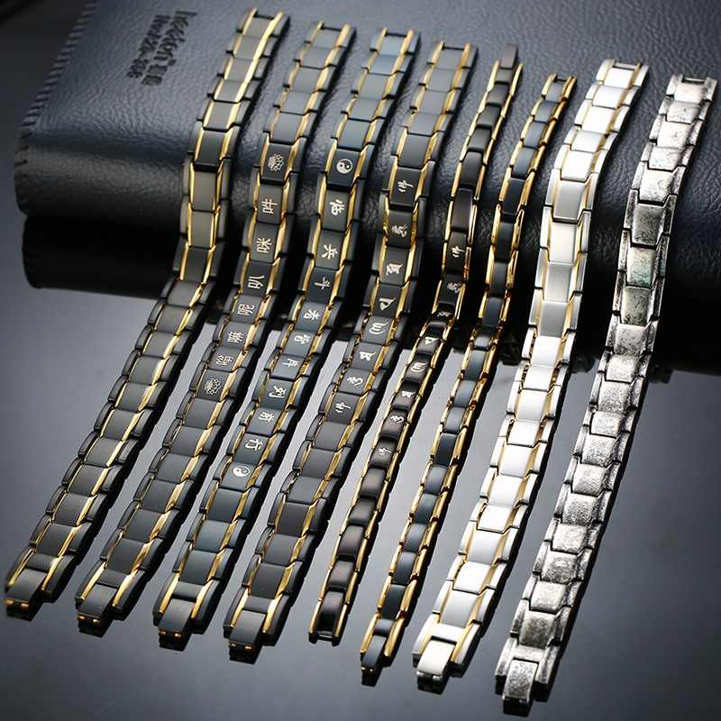 Vinterly Black Bracelet Male Chain Steel Magnetic Bracelet Benefits Germanium Wrist Band Magnetic Hologram Bracelets Men Women