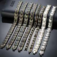 Vinterly Black Bracelet Male Chain Steel Magnetic Bracelet Benefits Germanium Wrist Band Magnetic Hologram Bracelets Men Women