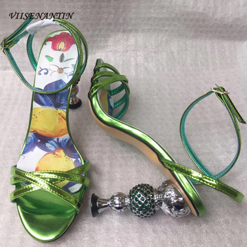 VIISENANTIN 2019 New Color Matching Lady Summer Sandal Shoe Crystal Metal Strange Heel Ankle Strap Shoe Cross Belt Shiny Leather