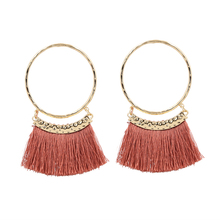 Bohemian Tassel Earrings For Women Vintage Gold Hammered Hoop Big Earring Long Fringe Earing pendientes rojos Jewelry 2019 цены онлайн