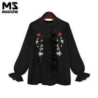 Mooishe Summer Casual Women Floral Embroidered Shirts Tops Long Lantern Sleeve O Neck Ruffless Loose Women