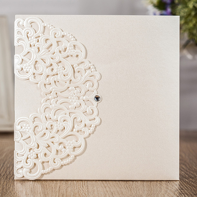 Luxury Printing Embossed Wedding Invitation Cards Laser Cut Marriage Birthday Anniversary Invitations Card Party Favors
