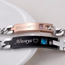 Always & Forever Matching Couple Bracelets with AAA CZ Stone Stainless Steel Bracelets For Women Men