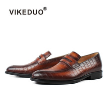 VIKEDUO Summer New Loafers Shoes For Men Plaid Genuine Calf Leather Male Shoe Wedding Office Party Casual Sapato Handmade Zapato vikeduo 2018 men s genuine leather dress shoes vintage classic monk strap shoe male plus size handmade wedding sapato masculino