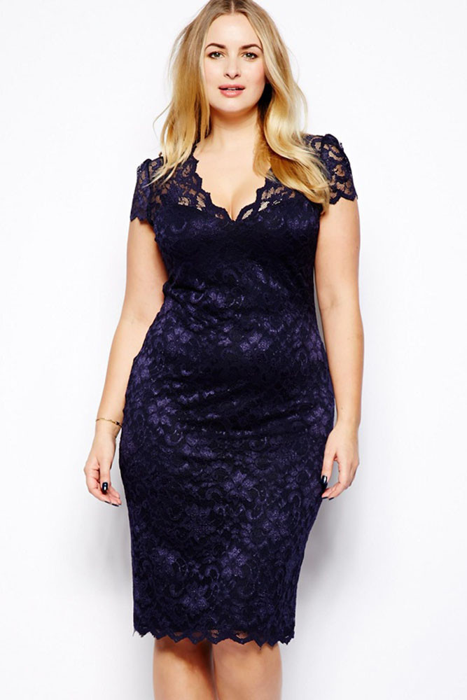 New Vestidos Plus Size Chubby Lady Sexy Casual Dress Lace -6935