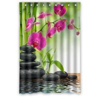 Unique Design Size 48(W)x72(H) Inch Flower Bamboo Plant and Stones over a Lake Waterproof Custom Shower Curtain Bathroom Decor P