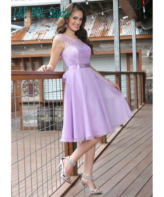 22ed2404ad 2016 New Arrival Bridesmaid Dresses Pleats Chiffon with Lace Top Knee-Length  Bridesmaid Dresses with Sash Lilac Dresses Cheap